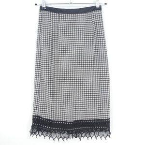 Ryu Windowpane Print Lace Trim Long Skirt  (A7)